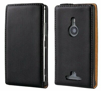 AU9.95 • Buy Black Genuine Leather Real Leather Classic Flip Case Cover For Nokia Lumia 925