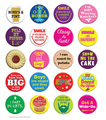 Brainbox Candy Metal Button Badge Pin Funny Rude Cheeky Hen Do Stag Night • 1.59£