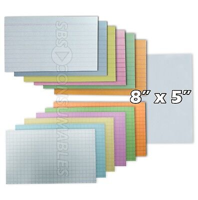 £5.90 • Buy 100x Record Cards - Lined/Squared/Plain. Large Index / Flash Cards 8x5 / 200x125