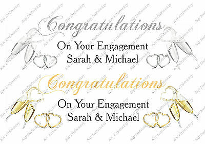 Personalised Wedding, Engagement Anniversary Large Banner With Champagne Glasses • 3.75£