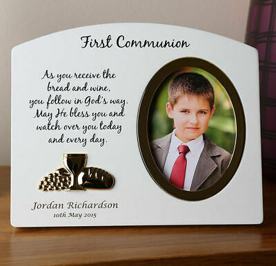 Boy's 1st Holy Communion Gift, Engraved Boy's Wooden Holy Communion Photo Frame • 18.99£