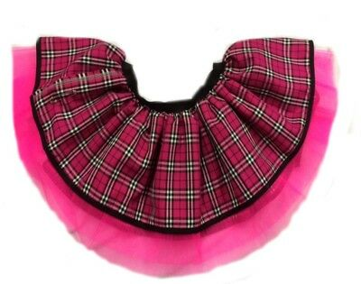 Neon Tutu Skirt 80's Fancy Dress Hen Party Pink Tartan Kilt Punk Gothic One Size • 12.99£