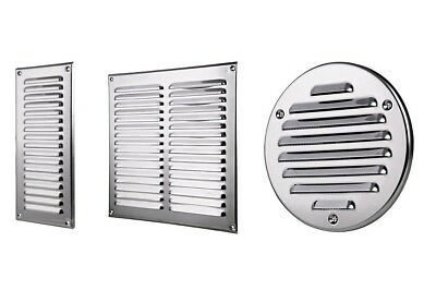 £5.99 • Buy Stainless Steel Air Vent Grille With Fly Screen / Metal Duct Ventilation Cover