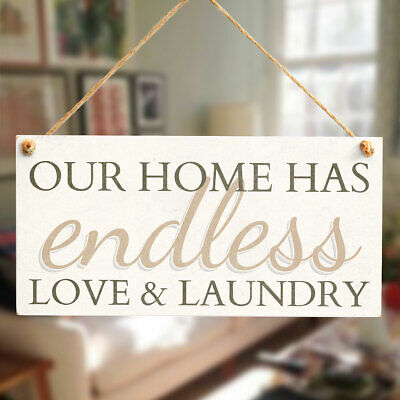 Our Home Has Endless Love & Laundry Wooden Home Decor Hanging Laundry Room Sign • 6.99£