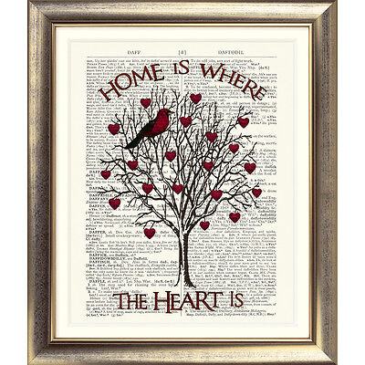 DICTIONARY ART PRINT ON ANTIQUE BOOK PAGE Shabby Chic Bird TREE HEARTS HOME Old • 7.50£