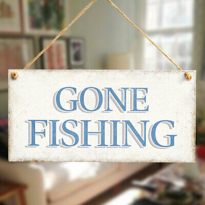 £6.99 • Buy Gone Fishing Handmade Vintage Style Wood Sign Plaque For Him Fab Fisherman Gifts