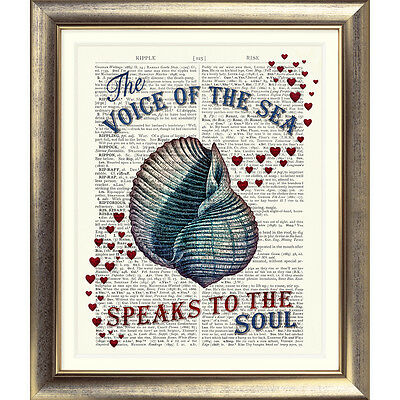 ART PRINT ON DICTIONARY BOOK PAGE Vintage SEA SHELL Heart NAUTICAL Seaside Quote • 7.50£