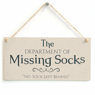 Department Of Missing Socks - Handmade Unique Laundry Sign / Plaque Small Gift • 6.99£