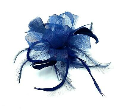 £5.25 • Buy Navy Blue Feather Comb Fascinator Ladies Day Races Wedding Royal Ascot
