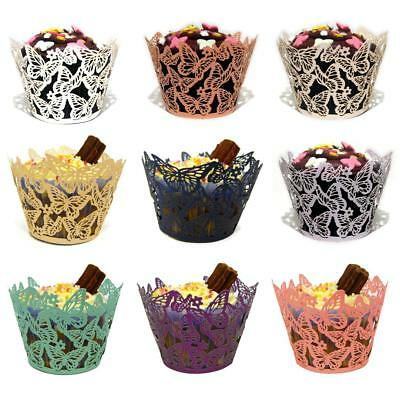 £2.95 • Buy 12/25/50x Butterfly Cupcake Wrappers Cases Laser Cut Wedding Birthday Shower