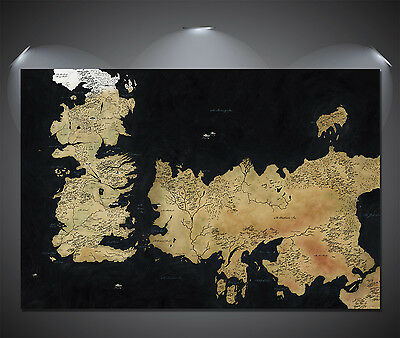£5.90 • Buy Game Of Thrones Westeros Map Art Large Poster - A0, A1, A2, A3, A4 Sizes