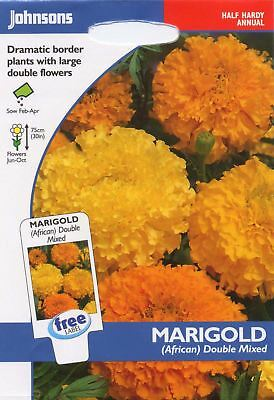 Johnsons Pictorial Pack - Flower - Marigold (African) Double Mixed - 100 Seeds • 2.40£
