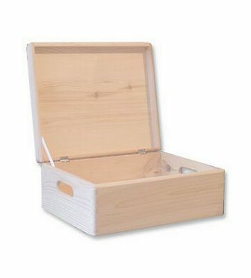 Wooden Storage Box Unpainted Chest Lid Souvenir Plain Toy Memorabilia Xmas Eve  • 17.50£
