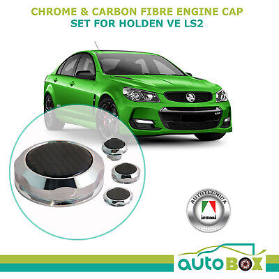 AU89 • Buy Holden LS2 VZ VE Billet Chrome Engine Cap Cover Set W/ Carbon Fibre Inserts SS