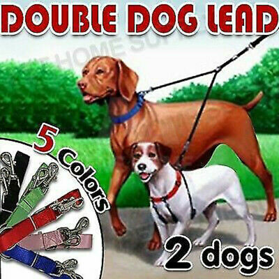 AU6.90 • Buy Two Way Double Dog Leash Lead Walk 2 Dogs With One Lead Coupler NYLON AU Seller