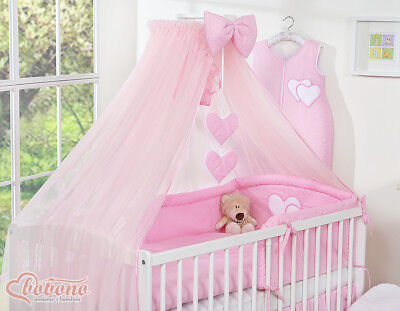 New Big Pink Drape Canopy Net / Mosquito Net +/- Holder Rod Fit Baby Cot Cot Bed • 27.50£
