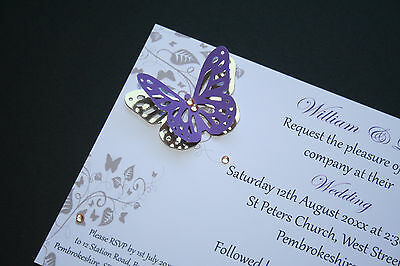 £2.50 • Buy Wedding Invitations With Gold Butterfly Day/Evening  ALL COLOURS