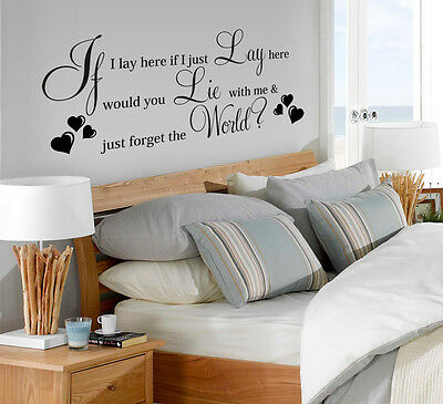 Vinyl Wall LARGE IF I LAY HERE SNOW PATROL Song Art Quote Wall Sticker Decor  • 12.47£