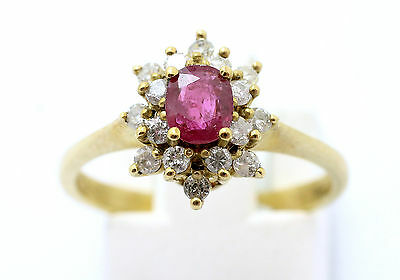 9ct Yellow Gold Ruby & Diamond Oval Cluster Ring Finger Size M • 330£