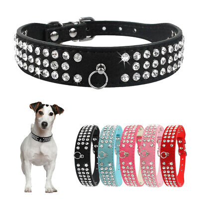 £5.99 • Buy Rhinestone Suede Leather Pet Dog Collar Bling Crystal For Small Medium Large Dog