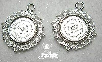 2 Silver Plated Round 15 Mm Pendant Setting Trays For Cabochons Cameos, Pictures • 1.95£