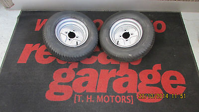 £99.99 • Buy Pair Of 145/10 Wheels And Tyres 4 Inch PCD Fits Early Ifor Williams P6e Trailer