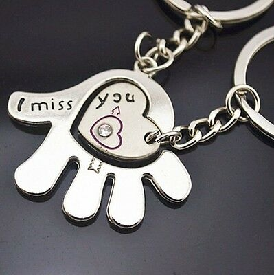 £1.99 • Buy Cute Metal Lovers Couples Keyring 3D Chain Gift KeyChain Hand & Heart I Miss You