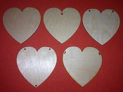 10 X M - HEARTS 10cm PLAIN WOODEN SHAPE UNPAINTED HANGING LOVE HEART WEDDING TAG • 4.10£
