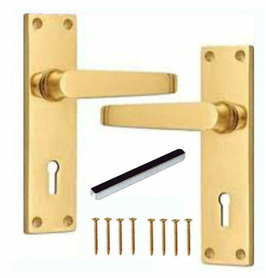 £8.50 • Buy Polished Brass Straight Victorian Door Handles Lever Lock With Keyhole + Spindle