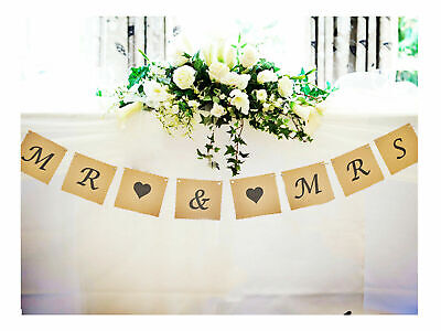 Mr & And Mrs Bunting Wedding Venue Top Table Decoration Banner Garland Vintage • 4.95£