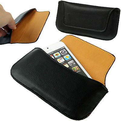 Black Universal PU-Leather Slim Belt Loop Pouch / Hip Case Magnetic For Phones • 4.49£