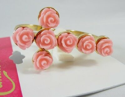 $ CDN6.58 • Buy New 2 Finger Gold Ring With Pink Roses In A Cross Pattern Size 7/8 NWT #R1178