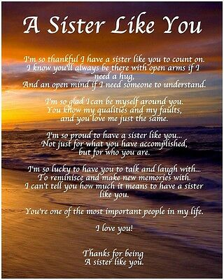 £3.99 • Buy Personalised A Sister Like You Poem Birthday Christmas Gift Present