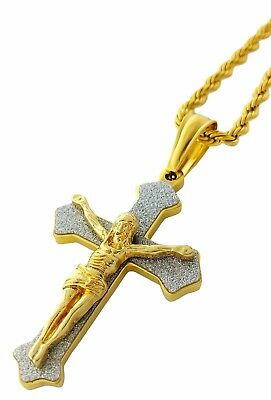 £14.33 • Buy Jesus Crucifix Cross Pendant Gold Stainless Steel Necklace With 24  Chain
