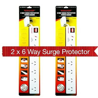 AU24.95 • Buy 2 X New 6 Way Surge Protector Power Board 6 Outlets With Master On / Off Switch