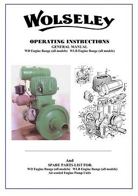 £5.99 • Buy Wolseley Stationary Engine Operater Instruction Manual Spare Parts List ON CD