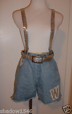 $39.99 • Buy WOOZ Denim Shorts With Belt & Suspenders Silver Sequins Size 9/10
