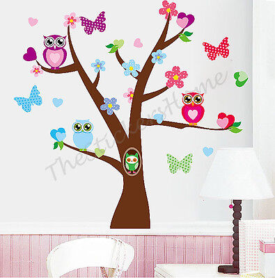 Owl Flower Butterfly Tree Wall Stickers Girls Bedroom Decor Kids Nursery Decals • 7.98£