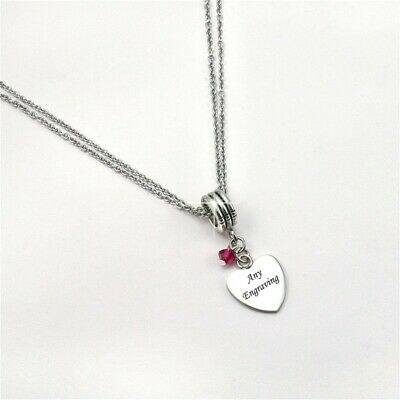 AU30.92 • Buy Necklace With ANY Engraving & Birthstone. Personalised Jewellery For Women