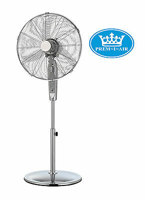Prem-I-Air 16  Inch Home Office Chrome Pedestal Fan With Remote Control + Timer • 69.99£