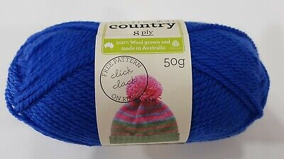 AU4.95 • Buy Cleckheaton Country #0288 Royal Blue 50g Pure Wool 8 Ply