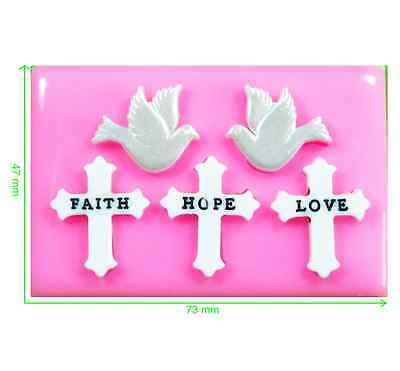 £5.75 • Buy Faith Hope & Love Crosses And Peace Doves Silicone Mould By Fairie Blessings