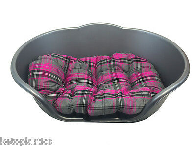 Extra Large Plastic Silver / Grey With Pink Tartan Cushion Pet Bed Dog/ Cat   • 25.95£