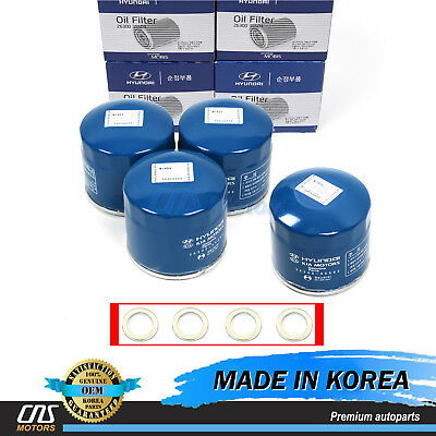 $25.95 • Buy GENUINE Oil Filters & Washers 4PACK For Hyundai Kia 2630035503 ⭐⭐⭐⭐⭐
