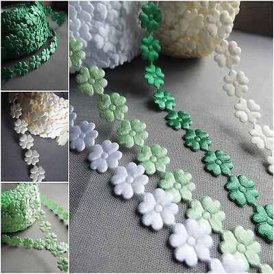 Clover Flowers Trim Satin Lace Ribbon CRAFTS Scrapbook Sewing Lucky Charm • 1.20£