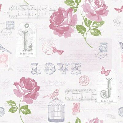 Muriva Sonnet Wallpaper 133504 - Typography Butterfly Birds Rose Stamps Purple • 9.99£