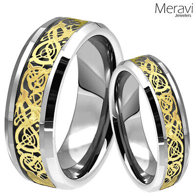 $25.90 • Buy His & Her Gold Dragon Celtic Silver Tungsten Carbide Ring Mens Wedding Band Set