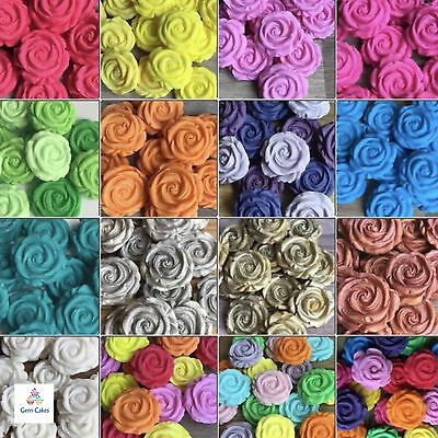 12 SUGAR ROSES Edible Flowers Wedding Cake Cupcake Decorations Toppers Birthday • 4.99£