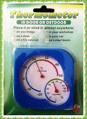 Blue Square Dial Thermometer & Hygrometer Indoor Outdoor Work Home Garage Stand • 2.99£