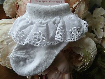 Baby Girl White Frilly Broderie Anglaise Christening Party Socks NB-0-3-6-12mnth • 2.99£